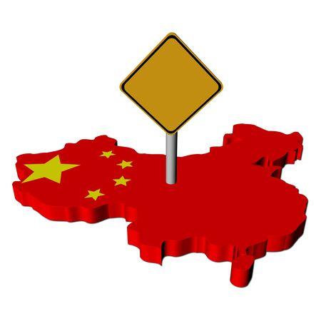 warning sign on China map flag illustration