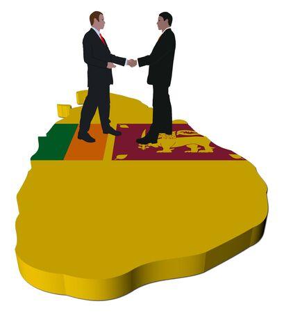 Business people shaking hands on Sri Lanka map flag illustration illustration