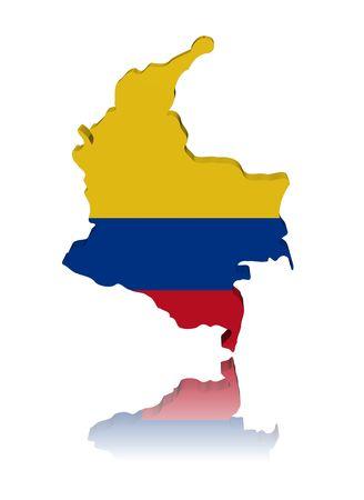 Colombia kaart vlag 3d render met reflectie illustratie