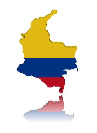 Colombia map flag 3d render with reflection illustration illustration