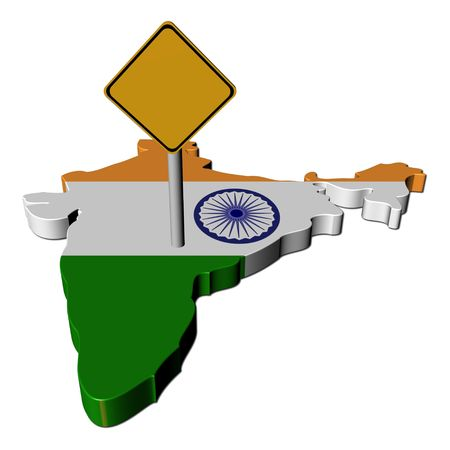 warning sign on India map flag illustration