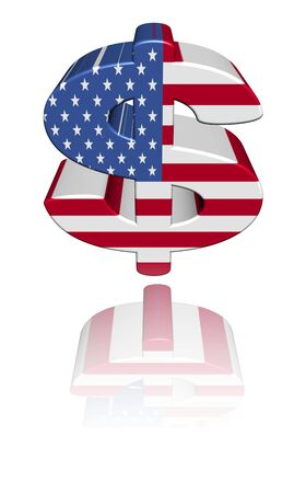 American dollar symbol with flag reflected on white illustration illustration