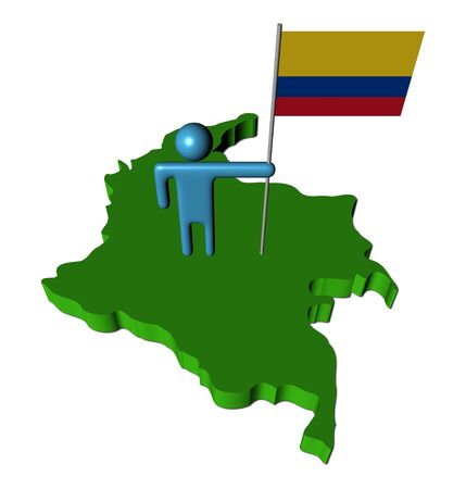 abstract person with flag on Colombia map illustration illustration