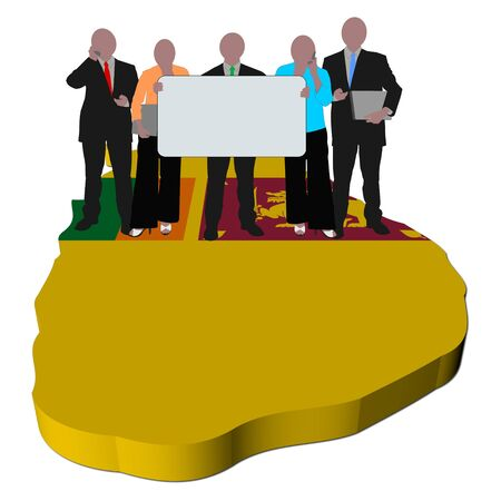 business team with sign on Sri Lanka map flag illustration illustration