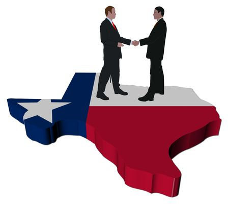 Business people shaking hands on Texas map flag illustration Stock Photo