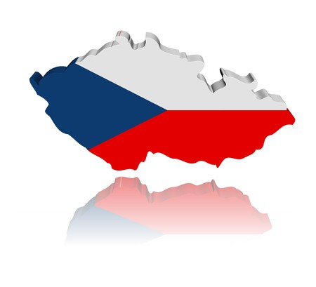 republic: Czech Republic map flag 3d render with reflection illustration