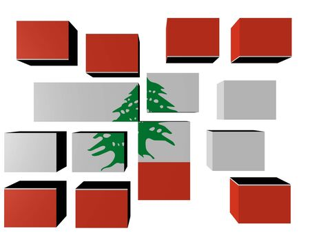 Lebanon Flag on cubes against white illustration illustration