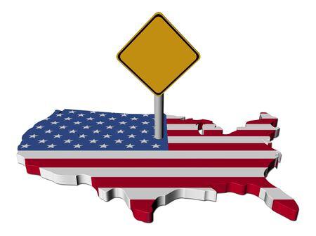 warning sign on USA map flag illustration