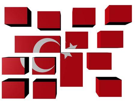 Turkey Flag on cubes against white illustration Stock Illustration - 7203111