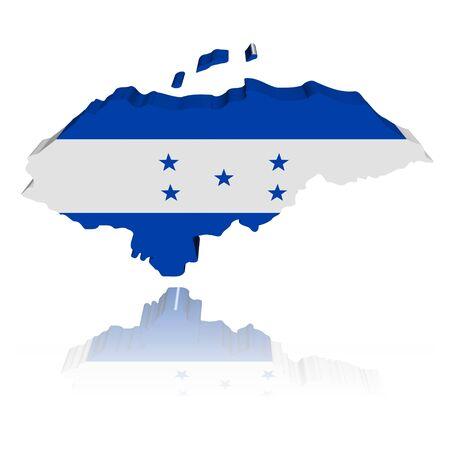 Honduras map flag 3d render with reflection illustration  illustration