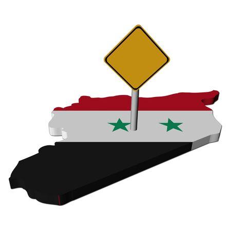 warning sign on Syria map flag illustration illustration