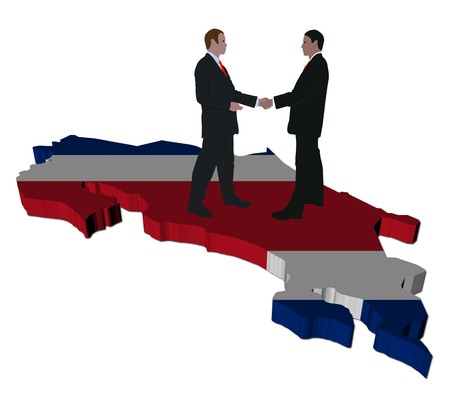 Business meeting on Costa Rica map flag illustration illustration