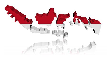 Indonesia map flag 3d render with reflection illustration illustration