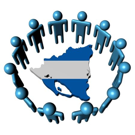 Circle of people around Nicaragua map flag illustration illustration