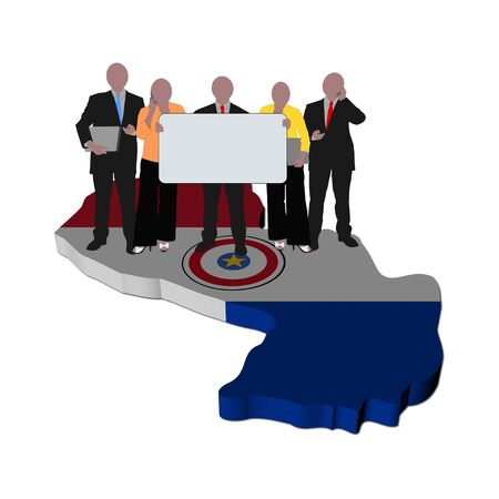 business team with sign on Paraguay map flag illustration illustration