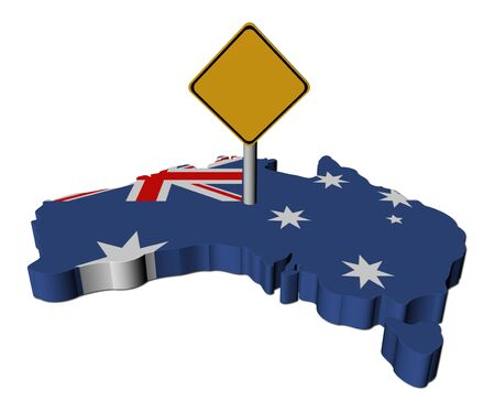 warning sign on Australia map flag illustration illustration