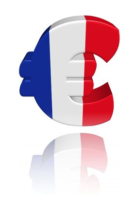 French euro symbol with flag reflected on white illustration illustration
