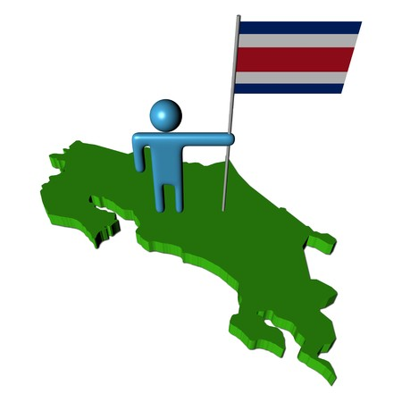 abstract person with flag on Costa Rica map illustration Stock Illustration - 7221499