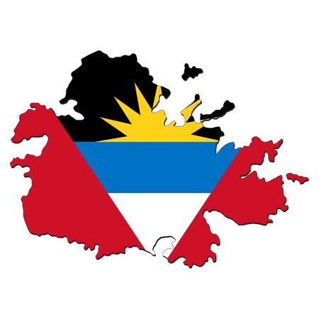 antigua: Antigua map flag with shadow on white illustration
