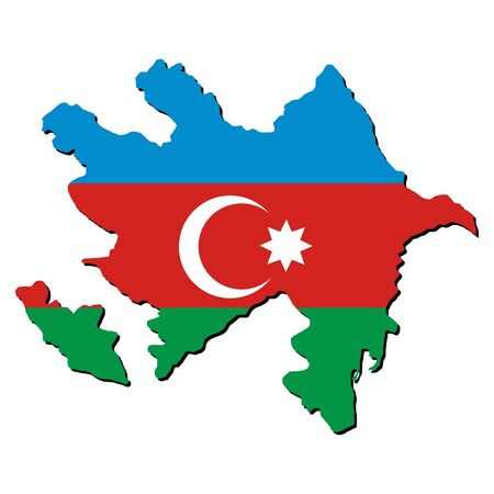 azerbaijan: Azerbaijan map flag with shadow on white illustration Stock Photo