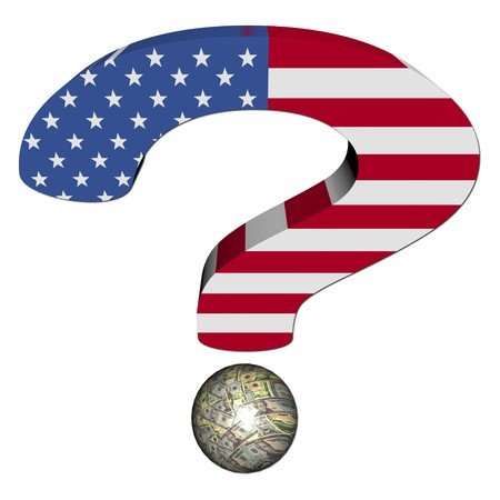 question mark with American flag and dollars illustration illustration