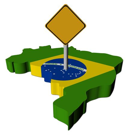 warning sign on Brazil map flag illustration