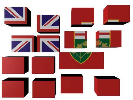 Ontario Flag on cubes against white illustration Stock Illustration - 7260852