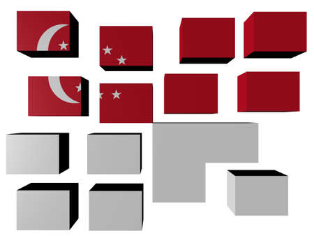 Singapore Flag on cubes against white illustration Stock Photo - 7260838