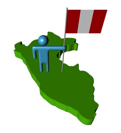 peru map: abstract person with flag on Peru map illustration