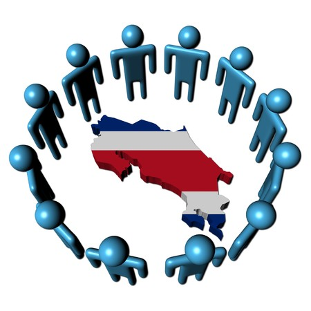 Circle of abstract people around Costa Rica map flag illustration Stock Illustration - 7260857