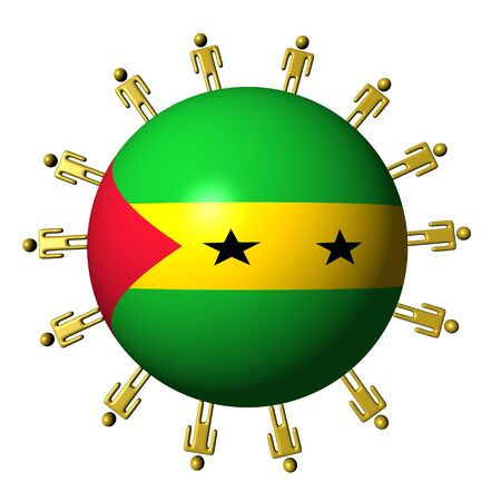 tome: circle of abstract people around Sao Tome flag sphere illustration