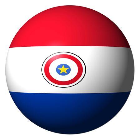 bandera de paraguay: Bandera de Paraguay esfera aislado en ilustraci�n blanco