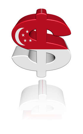 singaporean flag: Singapore dollar symbol with flag reflected on white illustration Editorial