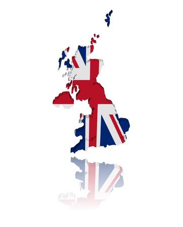 イギリスの地図反射図と 3 d のレンダリングをフラグ 写真素材