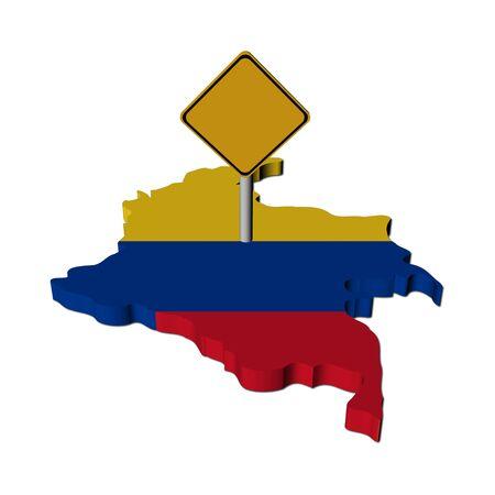 warning sign on Colombia map flag illustration illustration
