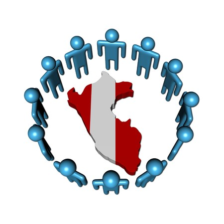 peru map: Circle of abstract people around Peru map flag illustration Stock Photo