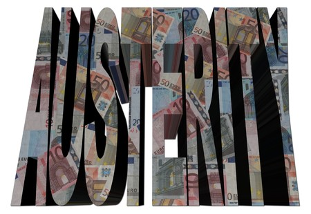 austerity: Austerity text with euros on white illustration