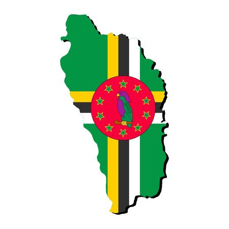 dominica: Dominica map flag with shadow on white illustration Stock Photo
