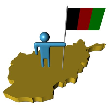 abstract person with flag on Afghanistan map illustration illustration