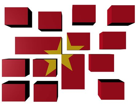 Vietnam Flag on cubes against white illustration Stock Photo