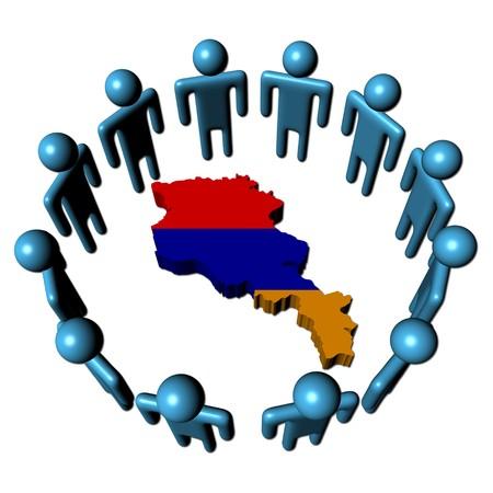 Circle of abstract people around Armenia map flag illustration Stock Illustration - 7310807