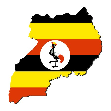 ugandan: Uganda map flag with shadow on white illustration