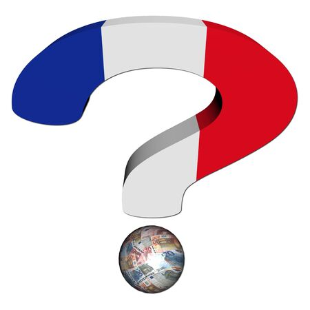 financial questions: question mark with French flag and euros illustration