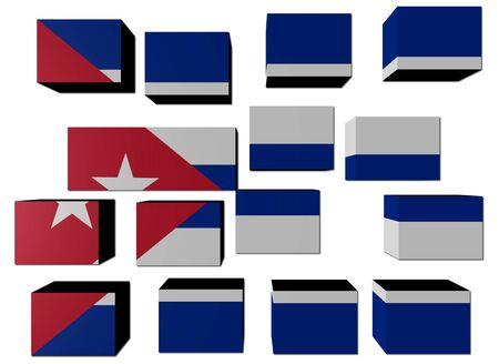the cuban: Cuban Flag on cubes against white illustration