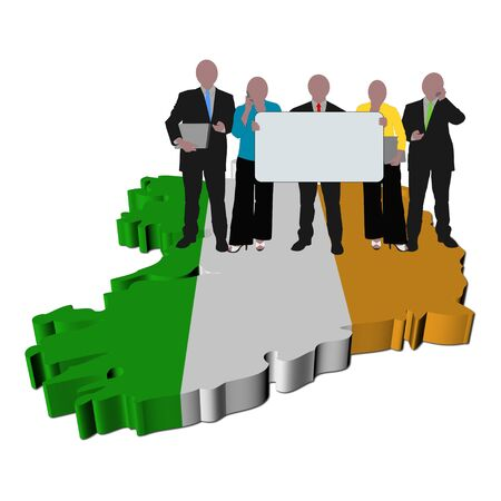 business team with sign on Ireland map flag illustration illustration