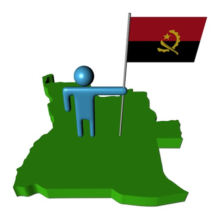 map of angola: abstract person with flag on Angola map illustration