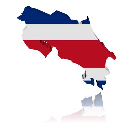 Costa Rica map flag 3d render with reflection illustration illustration