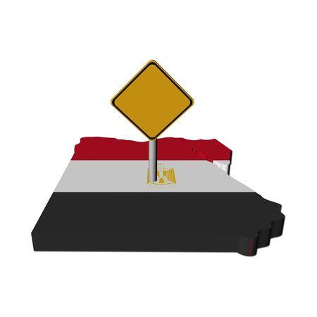 warning sign on Egypt map flag illustration