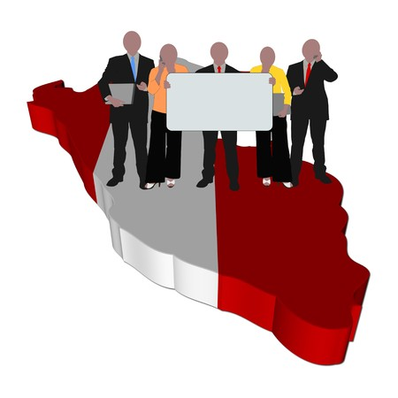 peru map: business team with sign on Peru map flag illustration Stock Photo