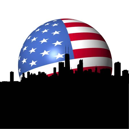 Chicago Skyline with American flag sphere illustration Stock Illustration - 7386269